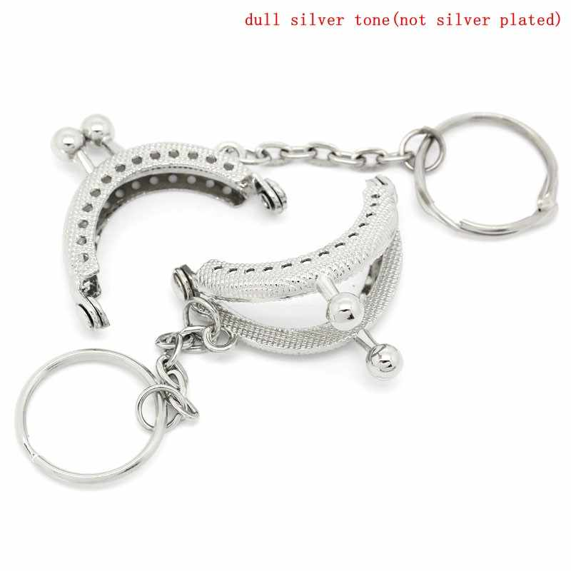 PACGOTH Iron Based Alloy Keychain & Keyring Kiss Clasp Lock Purse Frame Arch Silver Tone Ball 4x3.5cm, Open Size: 6.2x4cm,5 Pcs
