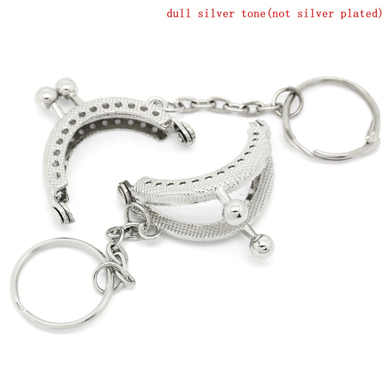 PACGOTH Iron Based Alloy Keychain & Keyring Kiss Clasp Lock Purse Frame Arch Silver Tone Ball 4x3.5cm, Open Size: 6.2x4cm,5 Pcs fggs 1pc metal purse bag frame kiss clasp lock silver tone size 16 5x9 5cm