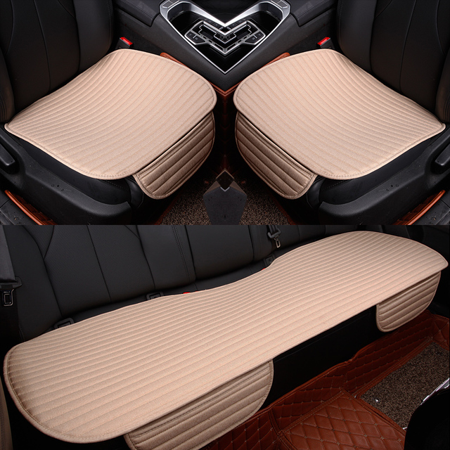 Linen Car Seat Cover Four Season Front/Rear Flax Cushion Breathable Protector non slide Pad Auto accessories Universal Size