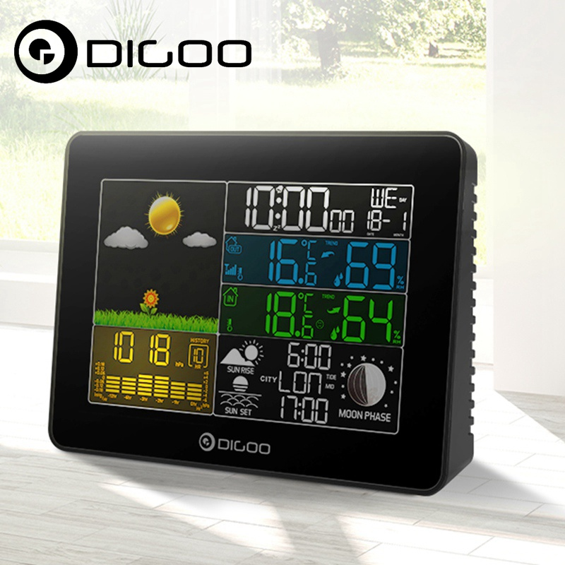 Digoo DG-TH8868 Wireless Full-Color Screen Barometric Pressure Weather Station Hygrometer Thermometer Forecast Sensor Clock zndiy bry ms5611 pressure altimeter barometric sensor ic for apm2 5 2 apm2 6 green