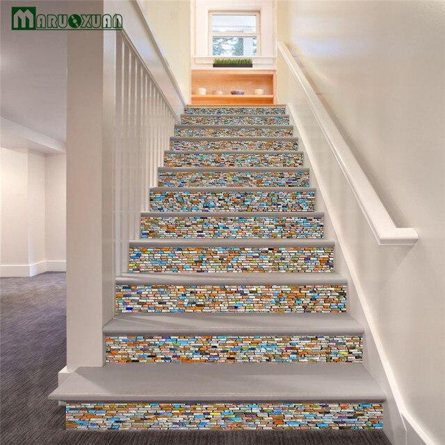 Koop maruoxuan 6 stks set kleur steen trap stickers corridor trap stap decoratie - Kleur corridor ...