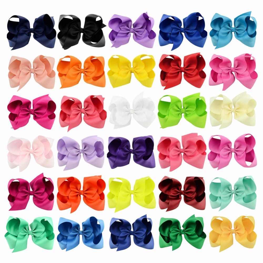 6 אינץ 30 יח'\חבילה צבעוני גדול ילדים בנות מוצק סרט שיער קשת קליפים עם גדול סיכות בוטיק סיכות ראש שיער Accessories588