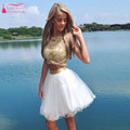 Sexy Gold Homecoming Dresses Two Pieces Dresses Sequined Organza Party Prom Gowns Dynamic girls Dresses Graduation Dress Z208
