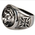 Handmade 925 Silver Lion Cross Ring Vintage Thai Silver Lion Finger Ring Pure Silver Man Jewelry Ring gift