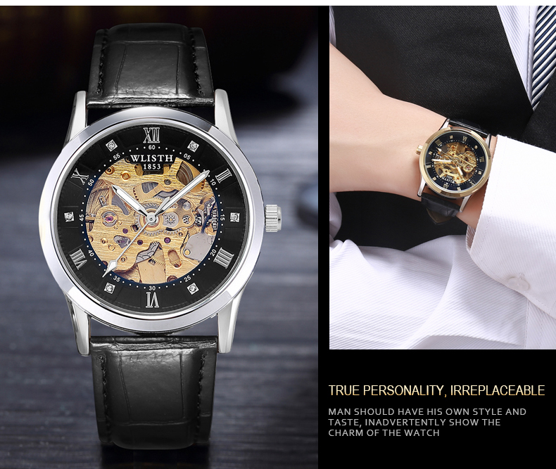 2019 Neue WLISTH Man Luxury Automatic Machine Flexible Accurate Mechanical Watch Crown Luminous Signs Dial Rolex_watch in Mechanical Watches from Watches