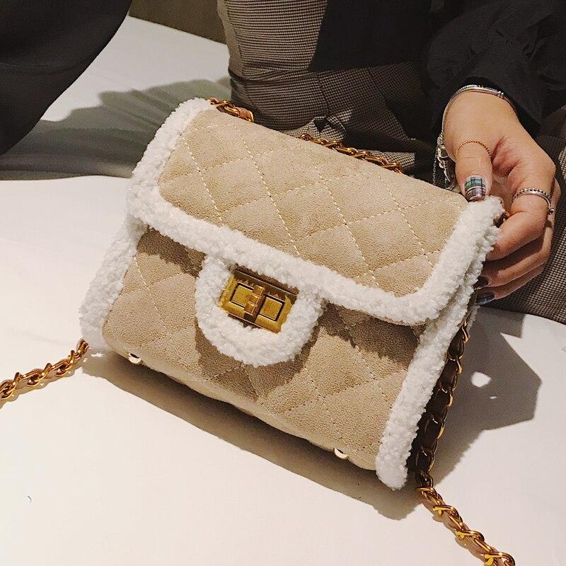 2018 Winter Fashion New Ladies Mini Square bag High quality Suede Women's Designer Handbag Lattice Chain Shoulder Messenger bags 2