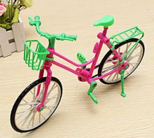 1:6 Toy Dollhouse Plastic Bike Bicycle With Basket For Barbie Dolls Girl's Playing Toy best Gift For Birthday Christmas