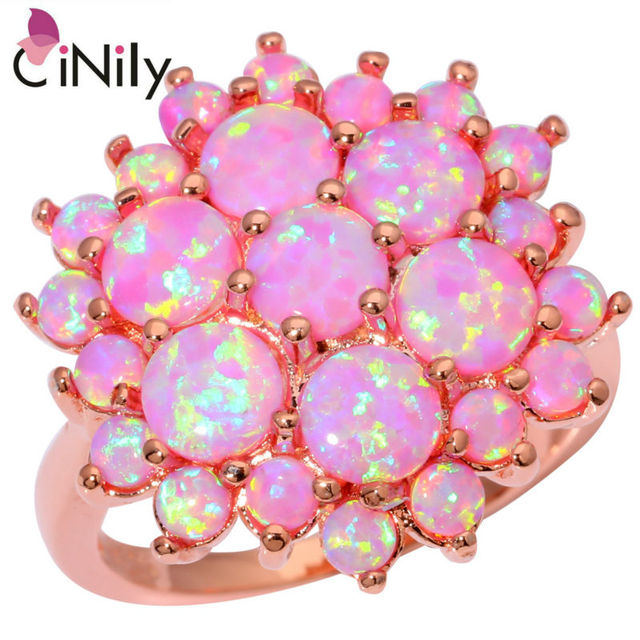 CiNily Created Pink Fire Opal Rose Gold Color Wholesale Hot Sell