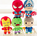5pcs/lot 22cm Avengers Super Heros Stuffed Plush Toy Captain America Ironman Hulk Spiderman Hawkeye Thor Dolls Gifts for Kids