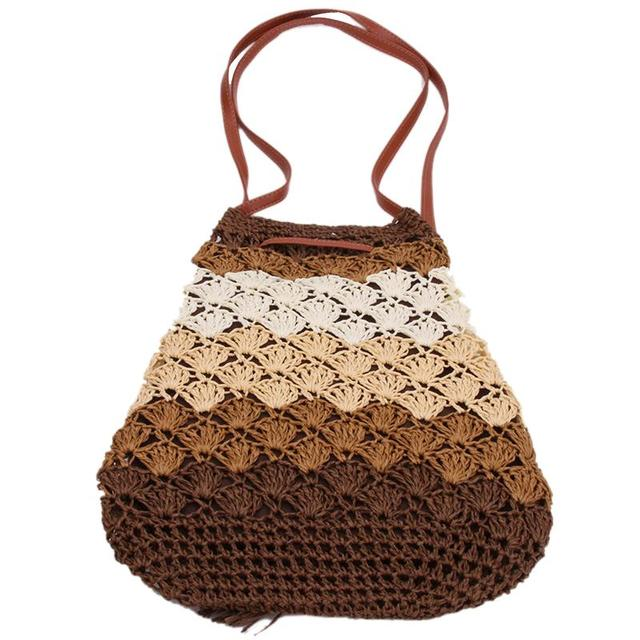 905e017a0c8a 4 colors Women Lady Girl Bohemian Vacation Beach Straw Bags big capacity  handmade Bucket Handbag Shoulder