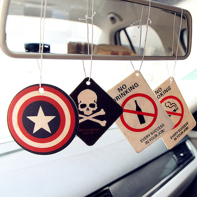 2pcs Truck Car Hanging Perfumed Fragrance Papers For Hero Air Freshener Car Perfume  Air Freshener Captain America Superman 3