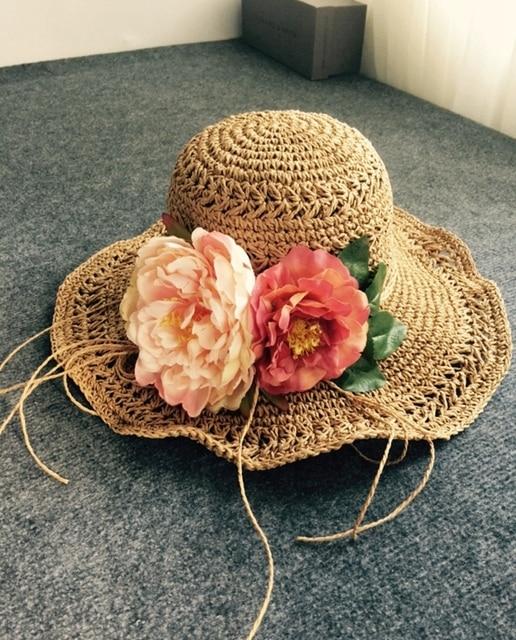 2016 Visera de Corea Del Gran Sombrero de Playa Flor Mariposa Sombreros de Onda mar Femme Casual Summer Solid Chapeau Sombreros Para Las Mujeres Sombrero de Paja