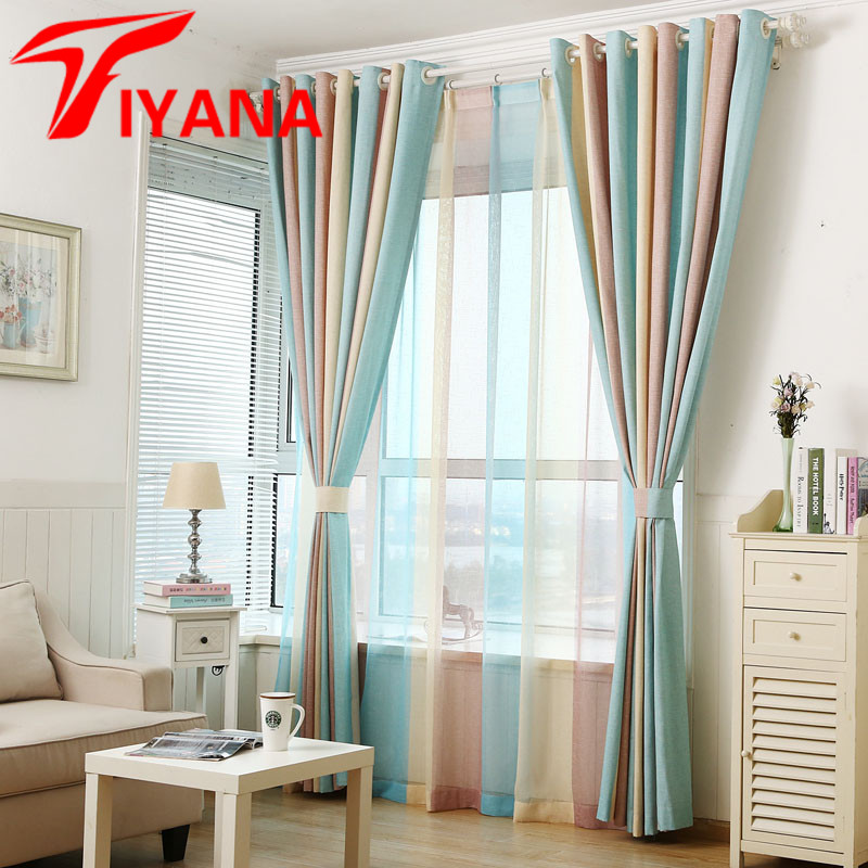 stylish living room curtains tiyana modern multi color stripe curtains window 15230