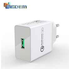 TIEGEM 18W Fast Quick Charge 3.0 Universal USB Wall Charger Adapter Travel EU US Plug Mobile Phone Charger for iphone 7 samsung(China)