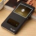 Lujo pu de cuero flip case para huawei p9 lite casos con soporte original del teléfono ventana de visualización para huawei p9 lite case P16