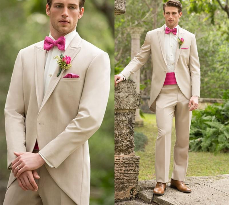 Beige Long Blazer Masculino Slim Fit Mens Suits Custom Made Wedding Groom 2016 Tailcoat Groomsman