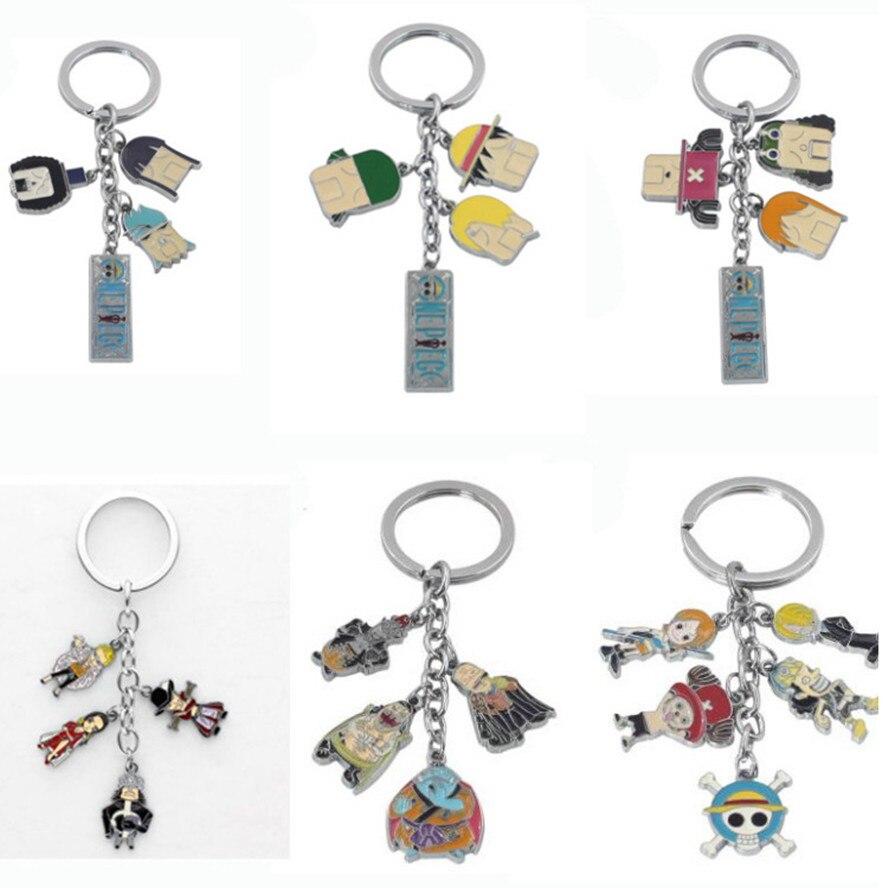 Japanese Anime ONE PIECE Key Chains Cartoon creative cute funny accesories metal Q version gifts breloczek do kluczy porte clefs