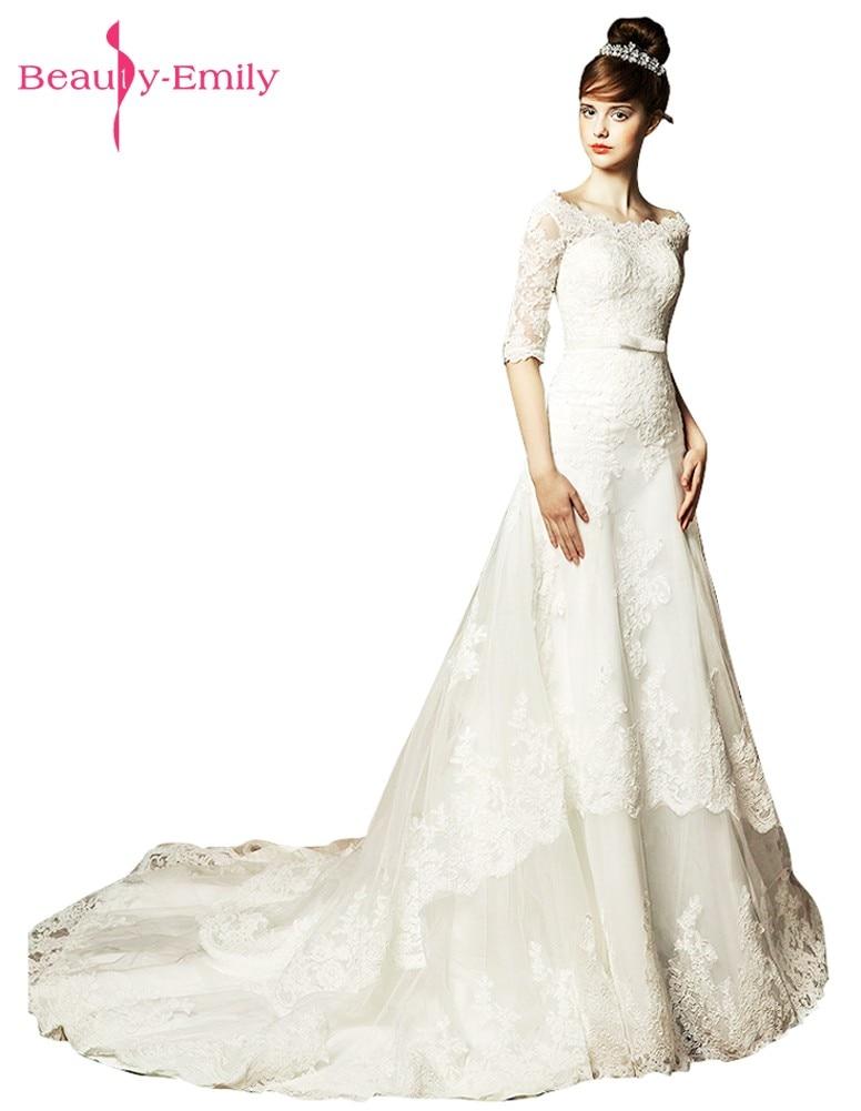 الجمال إميلي الأبيض جودة عالية خط - فساتين زفاف