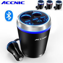 ACCNIC C1 Bluetooth transmisor FM coche Bluetooth Micro/TF SD música reproductor MP3 coche Kit encendedor adaptador divisor(China)