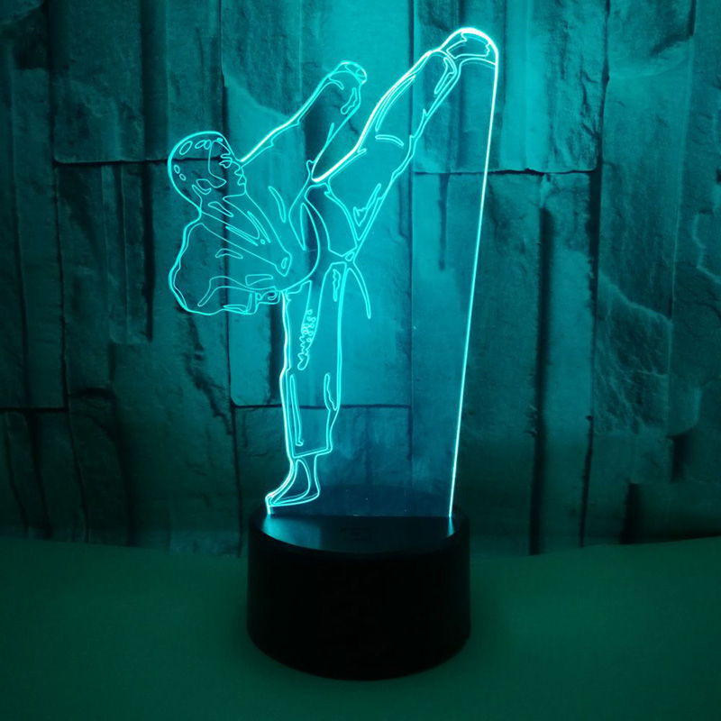 Creative 3D LED Vision Gradient Karate Table Lamp USB Taekwondo Modelling Night Lights For Gifts Kids Bedroom Lighting Decor 3d led table lamp kids bedroom bedside sleep playing football modelling touch button usb home decor soccer player night lights