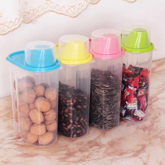 4Pcs/Set Kitchen Plastic Storage Canisters Large Plastic Clear Containers  Coffee Tea Sugar Jars 2.5