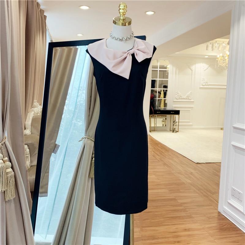 TOP qualité Paris mode 2019 robe de créateur de piste femmes arc col couleur bloc robe crayon