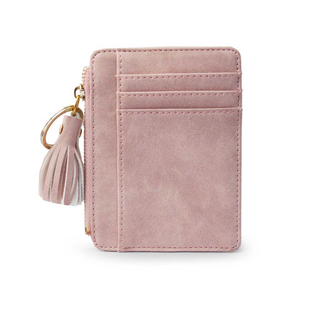 Кожаный мини-кисточка кулон Для женщин кредитной держатель для карт Портмоне брелок для ключей женский держатель для карт чехол-портмоне