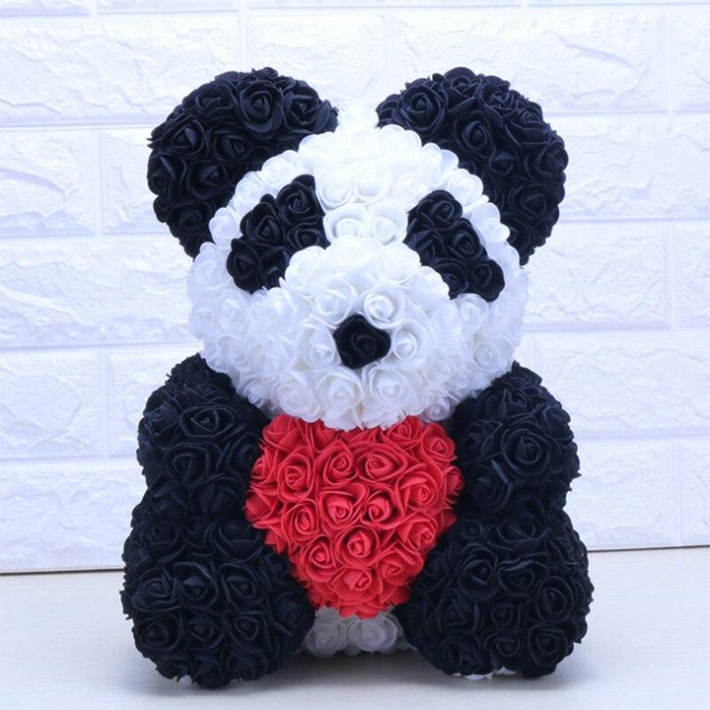 40CM Liebe Herz Rose Bär Künstliche Blumen Seife Schaum Rose Blume Panda Weihnachten Geschenke für Frauen Valentinstag geschenk
