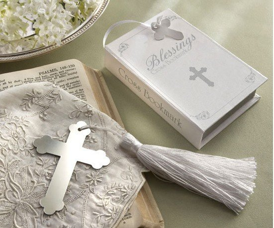 100PCS LOT wedding favor party gift of cross shaped bookmark with tassel festival Christmas gift in Party Favors from Home Garden