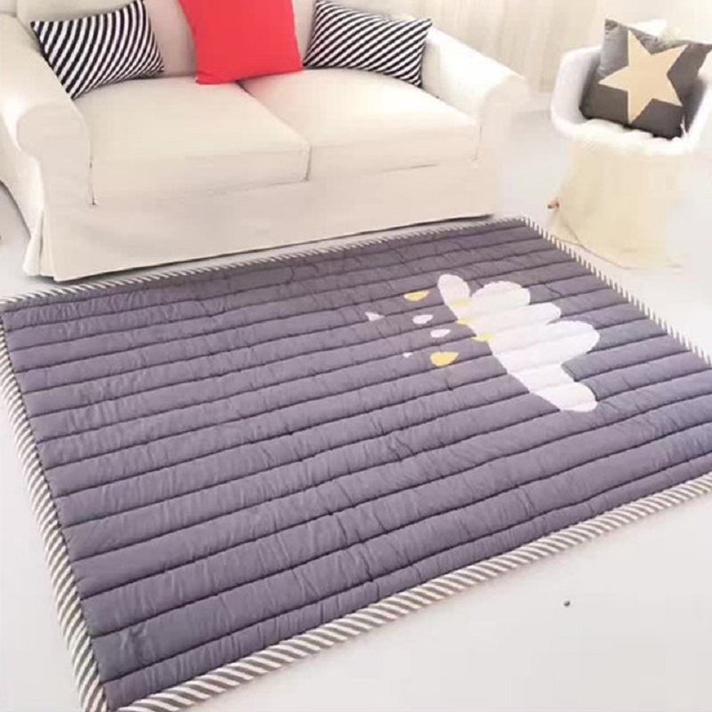 195*140cm Baby Play Mat Thickening of Folding The Game Blanket Bedroom Mat Cartoon Baby Rug Soft Kids Rug Floor Mat Gifts leaves pineapple print floor rug