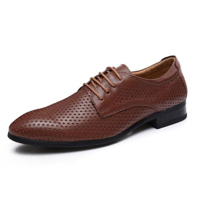 Business Men Cow Genuine Leather Brouge Shoes,Pointed Toe Doug Shoes Non-slip Breathable Dress Leather Shoes Big Size 37-47