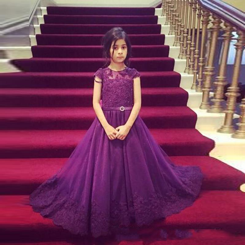 Moda Púrpura Oscuro vestidos de Niña Una Línea de Cap Manga ...