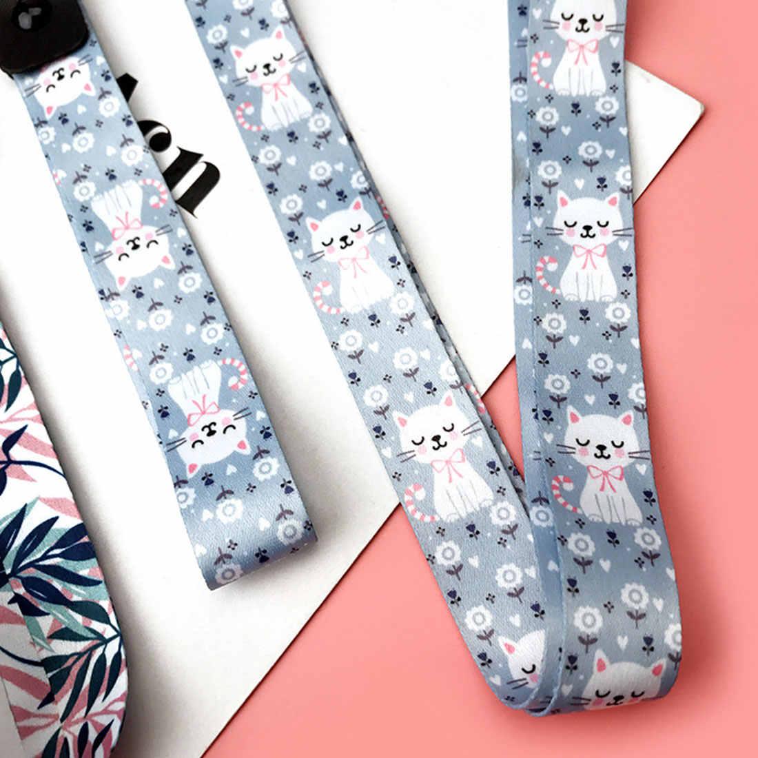 Correa de teléfono móvil linda flor de dibujos animados gato acollador correa de cuello para llaves Tarjeta de Identificación S para Huawei sujección de insignia y USB cuerda colgante DIY