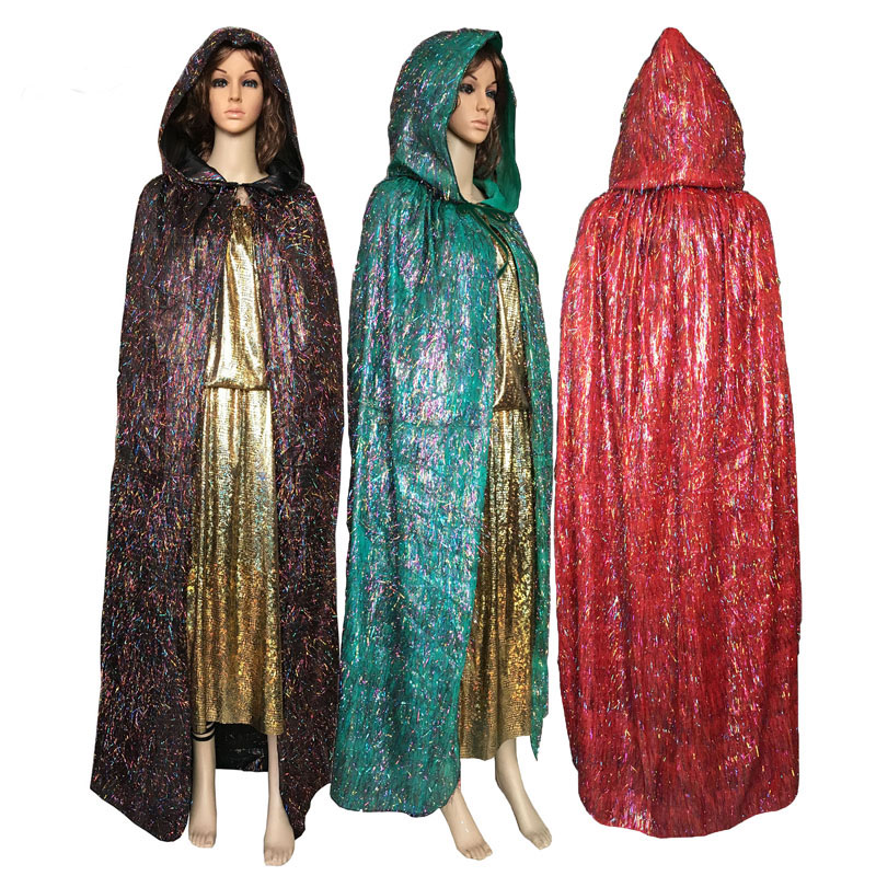 Adult Gothic Beauties Hooded Cloak Colourful Spirit Fairy Cape Women Men Halloween Costumes Witche Vampires Stage Fancy Party
