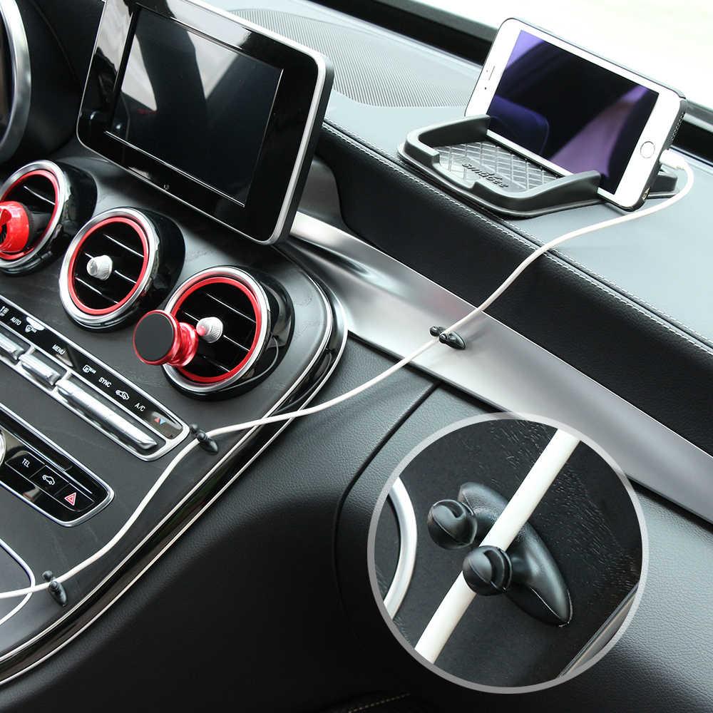 8 PCS Car Charger สาย Clamp Clamp หูฟัง/USB Cable Car Clip สำหรับ Toyota Kijang Innova Calya Rush Fortuner etios