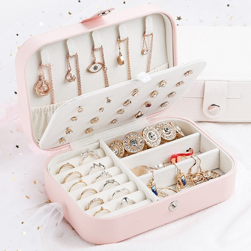 Protable Travel Leather Jewelry Multi-function Storage Box Case Holder Earring Necklace Simple Girl Plate Leather Organizer Box