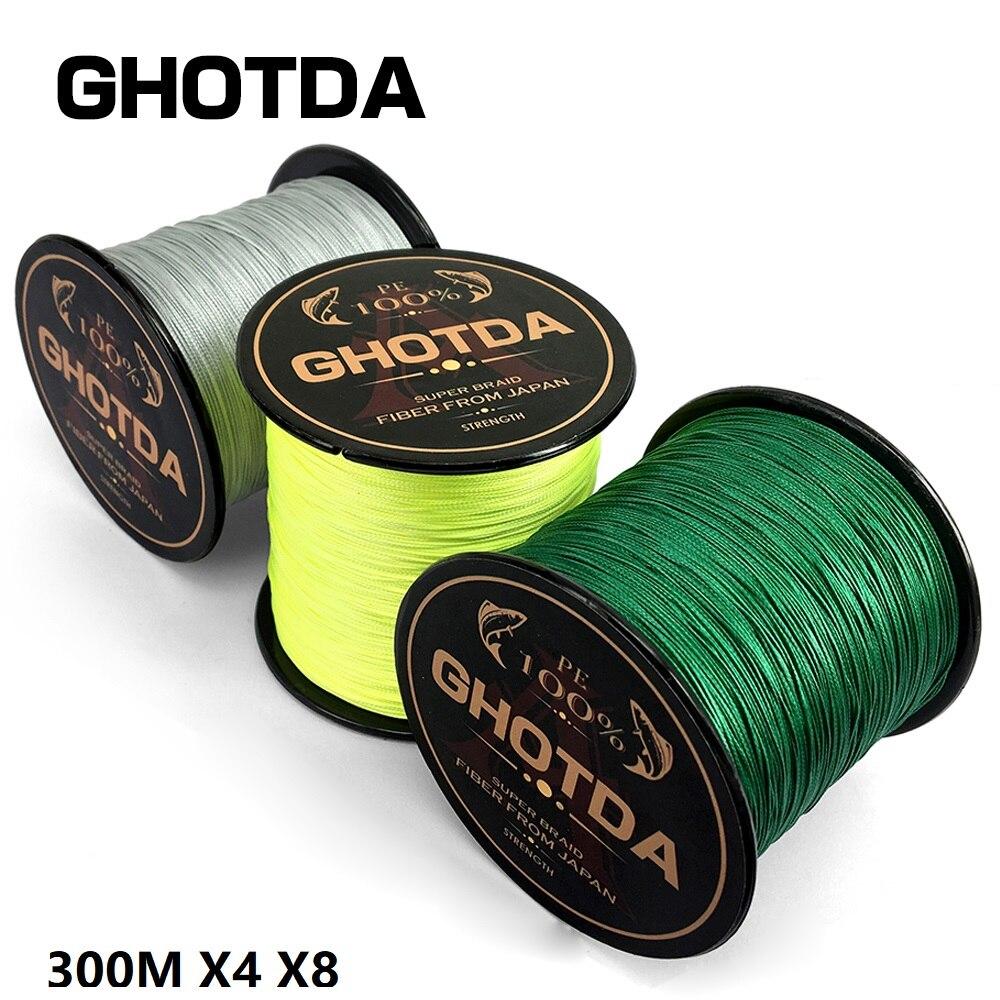 GHOTDA PE trenzado línea de pesca 300 m multifilamento alambre 4 filamentos 8 hilos tejidos hilos para la pesca de la carpa