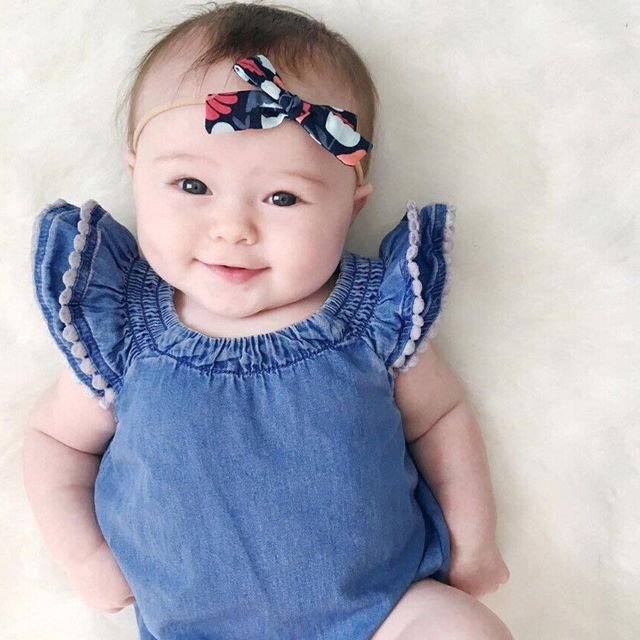58f999c384bb Newborn Toddler Infant Baby Girls Denim Romper Jumpsuit Kids Bubble Sleeve  Sunsuit Lace Rompers Jumpsuits Clothes Outfit