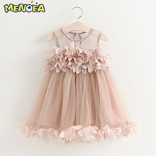 Menoea-Cute-Girls-Dress-2017-New-Summer-Mesh-Girls-Clothes-Pink-Applique-Princess-Dress-Children-Summer