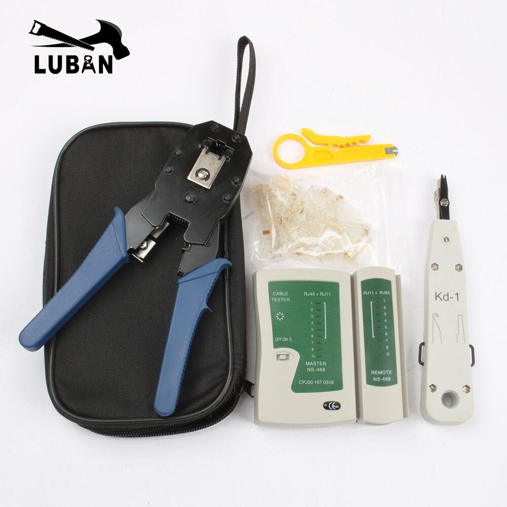 Rede Ethernet Cabo Testador Kit RJ45 RJ45 Crimper Friso Ferramenta Punch Down RJ11 Cat5 Cat6 8P8C Detector de Linha Fio