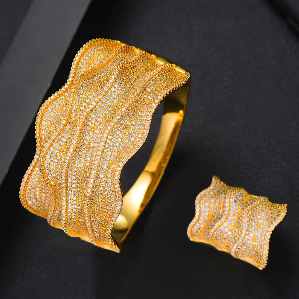 GODKI Luxury Wide Waves Nigeria Bangle Ring Set Jewelry Sets For Women Wedding Cubic Zircon Crystal