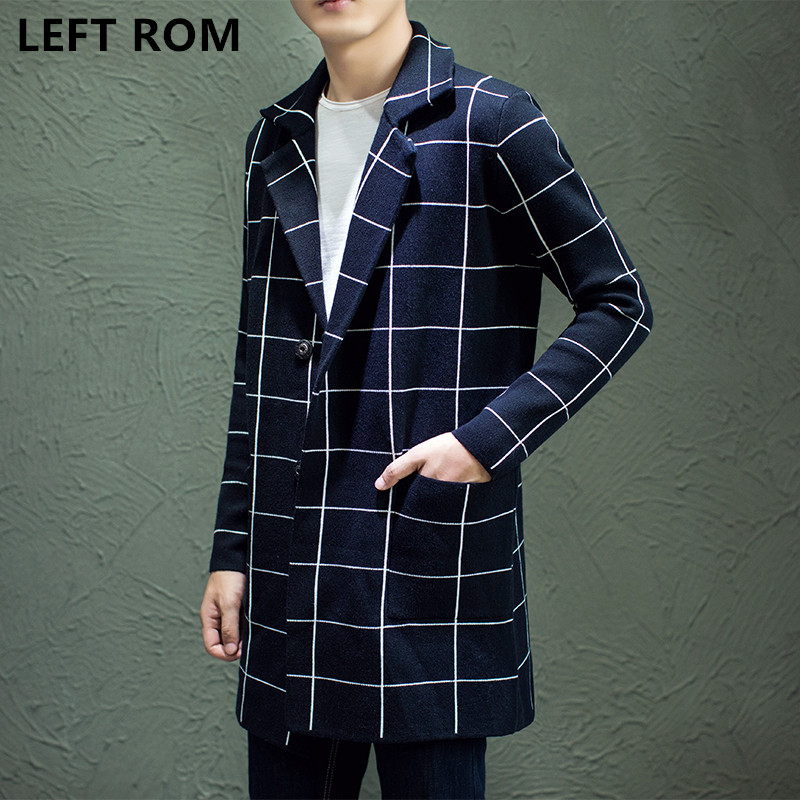 LEFT ROM 2017 autumn man font b sweater b font knit cardigan in long coats Business