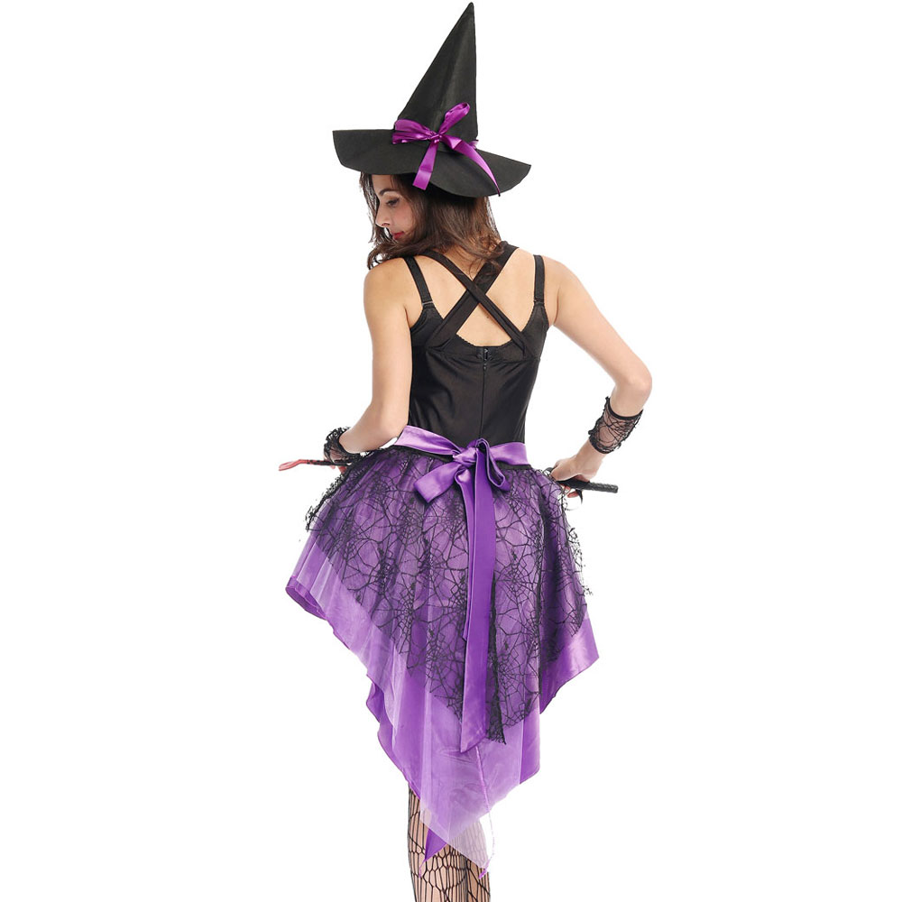 S XXL Plus Size Large Purple Halloween Witch Costume Costumes for Women  Adult Adulto Fantasia Dress Short Hat Cosplay Clothing-in Holidays Costumes  from ... 132ad2e016f1
