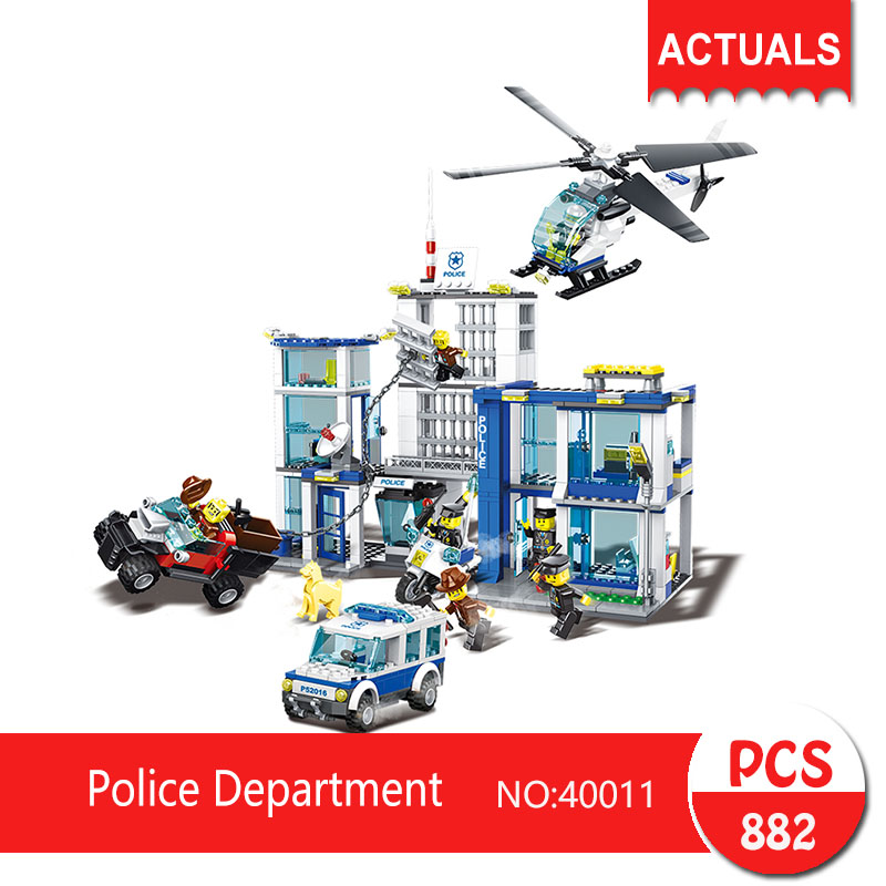 Lepin 40011 882Pcs City series Police Department Model Building Blocks  Bricks Toys For Children Gift Action figures compatible lepin city block police dog unit 60045 building bricks bela 10419 policeman toys for children 011
