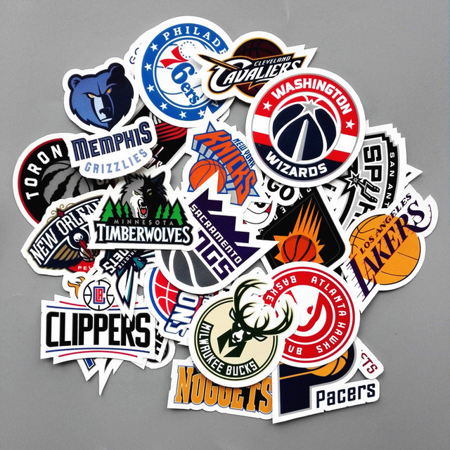 30pcs lot pvc waterproof basketball club logo sticker for laptop trunk skateboard fridge phone decal