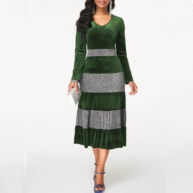 NORMOV 2019 Fashion Women Autumn Winter Plus Size Velvet Dress Elegant Party Sequin Patchwor Dress Ruffle 3 Color Midi Dresses 4