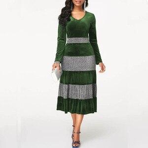 Image 4 - NORMOV 2019 moda kobiety jesienno zimowa Plus rozmiar aksamitna sukienka elegancka impreza cekinowa sukienka Patchwor wzburzyć 3 kolorowe sukienki Midi