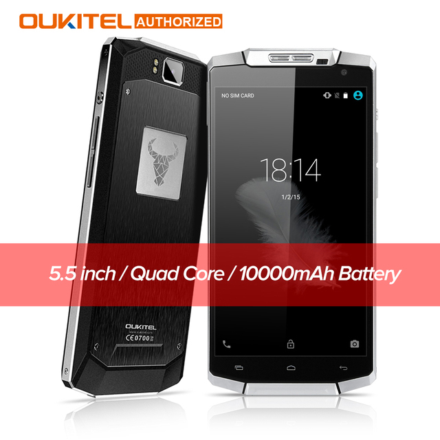 Original Oukitel K10000 5.5 inch 4G LTE Android 6.0 Smartphone 10000mAh Battery 2GB+16GB ROM 720P 13MP Outdoor Mobile Cellphone