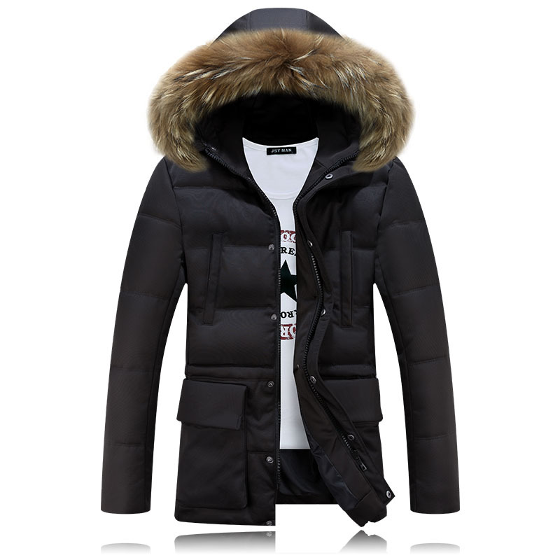 Winter Jacket Men Brand Clothing Fashion Slim Thick Warm Mens Coats   Parka   Hooded Long Overcoats Male Clothes Manteau Homme Black
