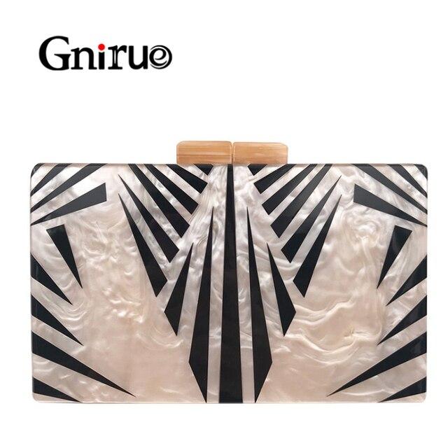 Bolsa de acrílico feminina, bolsa de acrílico de pérola com corrente geométrica, de retalhos, elegante, para festas, baile